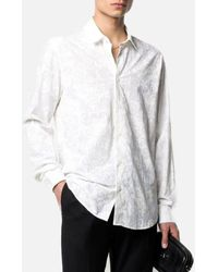 Versace Jeans Couture - Silk Shirt With Baroque Fantasy Tonal - Lyst