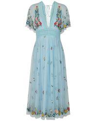 Frock and Frill Gigi Light Blue V Neck Short Sleeve Floral Midi