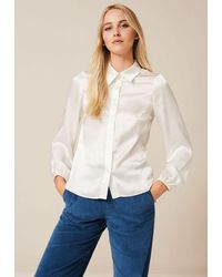 PHOEBE GRACE Nancy Long Sleeve Shirt With Elasticated Cuff In Rpet Twill - White
