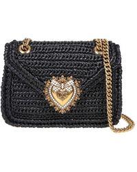 Dolce & Gabbana Devotion Shoulder Bag In Raffia - Black
