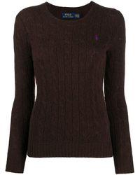 Ralph Lauren Women's 211525764077 Brown Wool Jumper