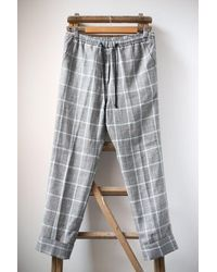 Humanoid Fedde Linen Blend Checked Trousers - Grey