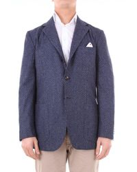 Kiton Jacket Men Blue White And Black