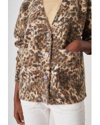 Leon & Harper Lam Beige Leopard Print Cardigan - Multicolour