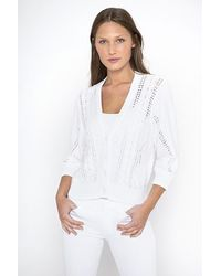 Kinross Cashmere Crop Cable Cardigan - White