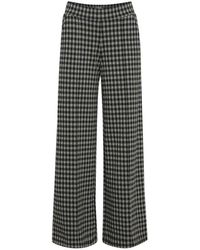Ichi Kate Checky Wide Leg Trousers--20114645 - Black