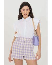 ViCOLO Sleeveless Shirt With Epaulettes - White