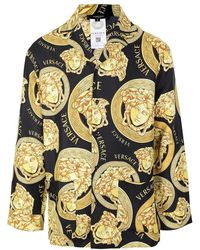 Versace Medusa Amplified Print Silk Pajama Shirt - Black