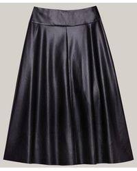 Caractere Faux Leather Flared Skirt 1233a000255n - Black