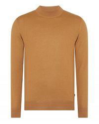 Remus Uomo Uomo Knited Turtle Neck Swearshirt Camel Colour: Camel, - Brown