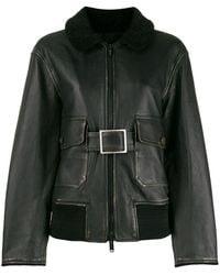 Golden Goose Shearling Collar Belted Jacket - Black