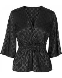 Y.A.S Spot Satin Look Blouse - Black