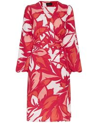 James Lakeland Red Floral Puff Sleeve Wrap Dress