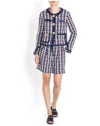 Erika Cavallini Semi Couture - Hatty Tartan Blazer In Blue - Lyst