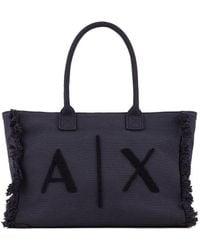 Armani Exchange Shopping Bag Fringed Blue Women