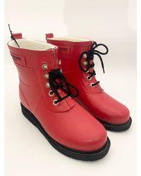 Ilse Jacobsen Short Rubber Lace Up Wellington Boots Deep Red Rub2