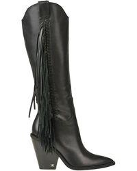 Sam Edelman Imari Fringed Texan Boots - Black