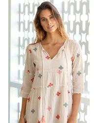 Aspiga Willow Embroidered Organic Cotton Dress | Ecru/ Sage/ Coral - Orange