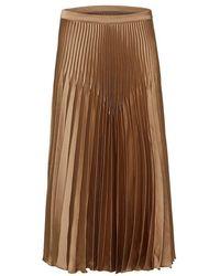 SELECTED Slfharmony Satin Pleated Skirt - Brown