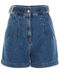 MSGM - Women's 3041mdb42l21728084 Light Blue Other Materials Shorts - Lyst