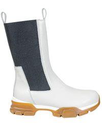 Erika Cavallini Semi Couture Platform Chelsea Boots - White