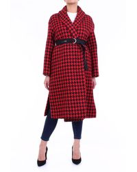 Ermanno Scervino And Black Trench Coat With Pied De Poule Pattern - Red