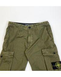Stone Island - Brushed Cotton Canvas Cargo Pants Black Khaki - Lyst