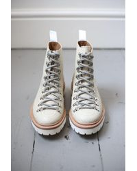 Grenson Nanette Ivory Snake Print Leather Hiker Boot - Multicolor