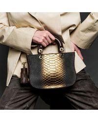 Thale Blanc Mademoiselle Satchel: Designer Crossbody Bag In Gold Snakeskin - Black