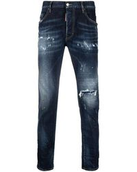 DSquared² Ripped Slim-fit Jeans - Blue