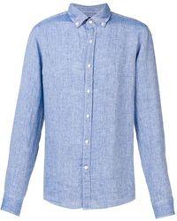 Michael Kors Men's Cs94ck84yt927 Light Blue Linen Shirt