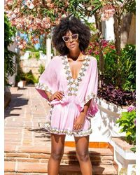 LINDSEY BROWN Manhattan Silk Designer Kaftan Top - Pink