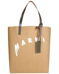 Marni Shopping Bag With Distorted Logo - Pink