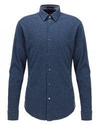 BOSS - Slim Fit Ronni_53f Shirt Colour: Navy - Lyst