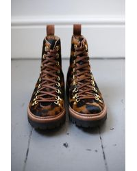 Grenson Nanette Leopard Print Pony Hiking Style Boots - Brown