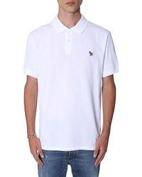 PS by Paul Smith Men's M2r183kazebra01 White Cotton Polo Shirt
