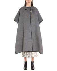 Ferragamo Women's 717970 Gray Wool Poncho