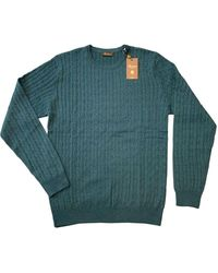 Stenströms / Blue Merino Cable Knit Crew Neck Sweater 4222851355485 - Green