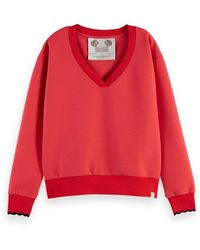 Scotch & Soda Scotch & Soda V-neck Sweatshirt - Red