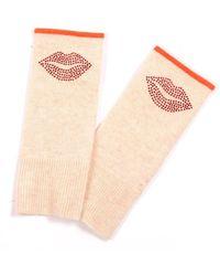 Adeela Salehjee Munich Oatmeal Fingerless Glove In Solid Colour , Style:lip - Red