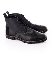 TOMS Leather Brogue Boots - Black