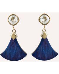 Akola Elizabeth Statement Earring With Swarovski Crystal & Navy Horn - Blue