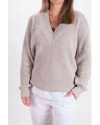 Repeat Cashmere Cotton Rib Oversize V Neck - Multicolor