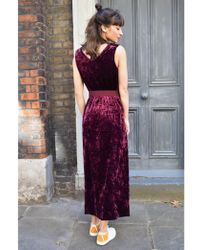 Emin & Paul - Emin & Paul Burgundy Velvet Dress - Lyst