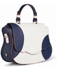Thale Blanc Audrey Colour Block Satchel: White-navy Designer Satchel Bag
