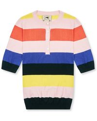 Burrows and Hare Burrows & Hare 's Knitted Polo Henley - Multicolour