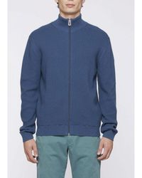 Paul Smith Waffle Full Zip Funnel Neck Knit Colour: - Blue