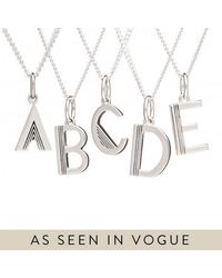 Rachel Jackson London Initial Necklace In Sterling Silver - A - Metallic