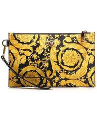 Versace Barocco Print Leather Pouch - Black