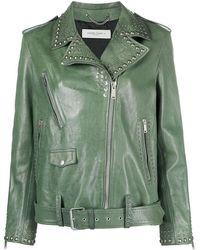 Golden Goose Stud-embellished Biker Jacket - Green